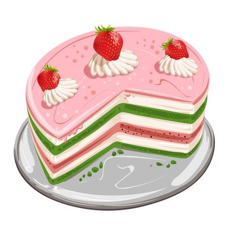 porcion de pastel: Los pedazos de la torta con la fresa