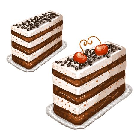 trozo de pastel: Pastel con cerezas