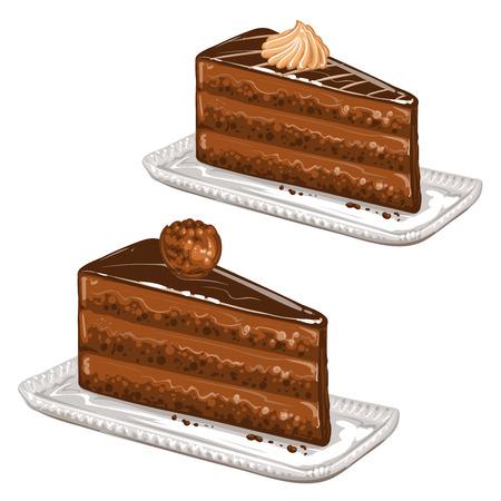 trozo de pastel: Sabrosos pasteles Vectores