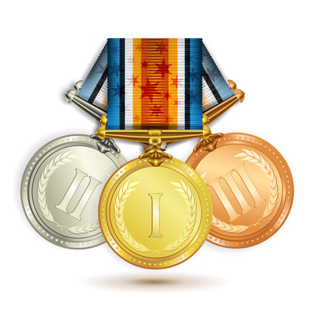 conquering: Set of gold, silver and bronze medals with ribbon over white background Illustration