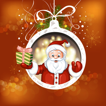 claus: Cute cartoon of a Santa Claus holding a gift box Illustration