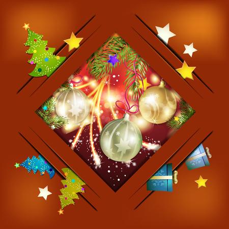 christmas tree ball: Christmas card with pine tree and ball