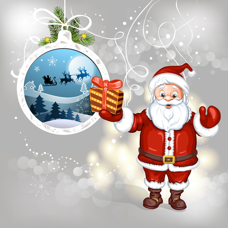claus: Cartoon Santa Claus with gifts
