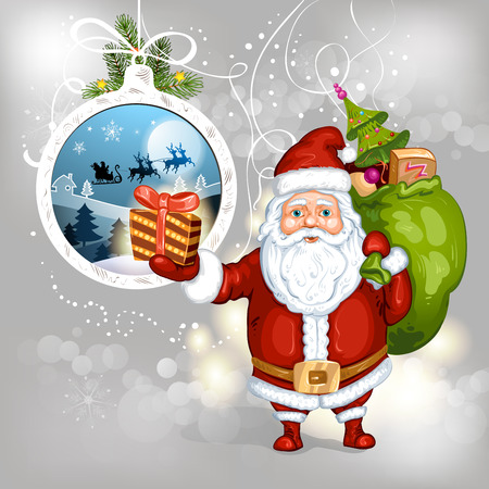 sacks: Cartoon Santa Claus with gifts
