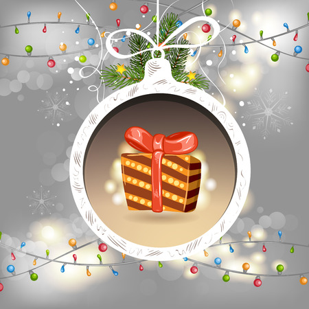 christmas lights background: Christmas ball with gift Illustration