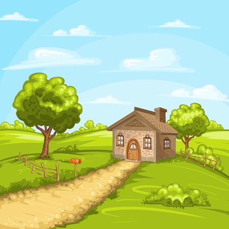 country house: Illustration of beautiful summer landscape with a home
