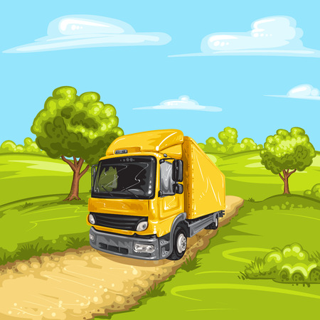 yellow landscape: Illustration of a yellow truck with rural spring landscape Illustration