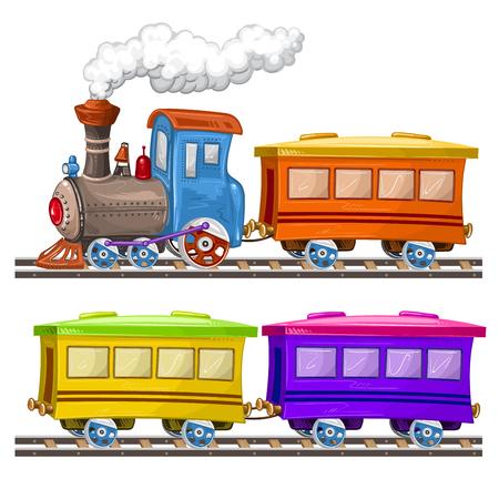 Trains de couleur, wagons et rails Vecteurs