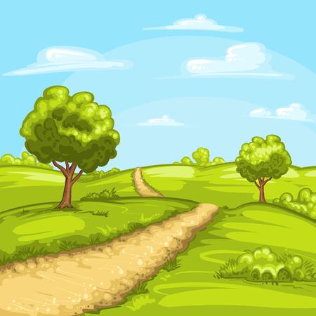 bonito: Ilustración de un paisaje resorte rural