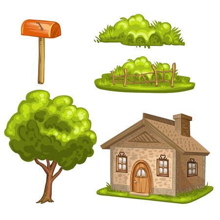 wood door: Illustration of a house, tree, bushes