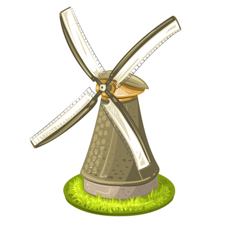 farmstead: Wind mill over white background