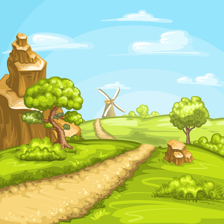 Ilustración de los campos de verano con un molino