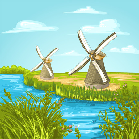 canal: Wind mill near a blue canal on a summer day