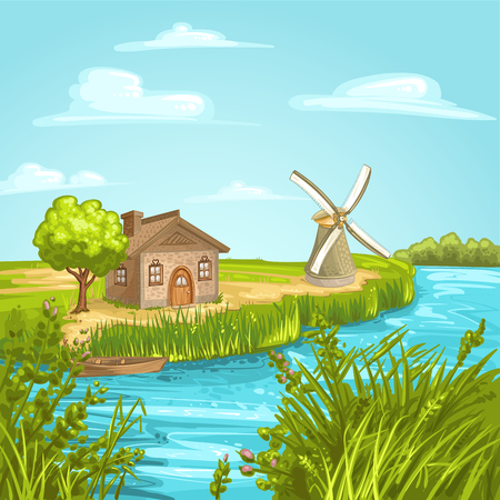 calmness: Illustration with house near river