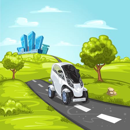 mini car: Mini car on asphalt road and modern city