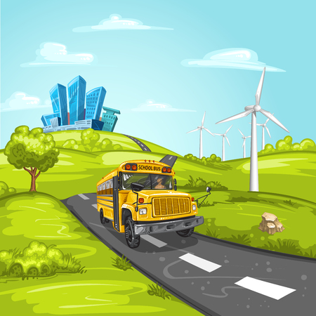 country road: Illustration with school bus on asphalt road and modern city Illustration