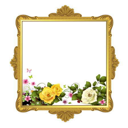 old furniture: Golden frame with roses on white background