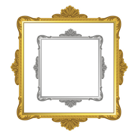 wood frame: Golden and silver frame on white background