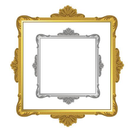 marco madera: Marco de oro y plata sobre fondo blanco Vectores