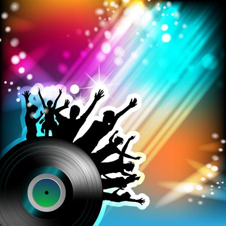 instrumentos musicales: disco de vinilo con las siluetas del baile