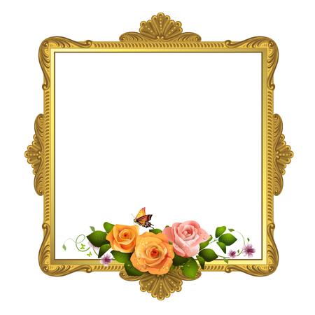 white roses: Golden frame with roses on white background