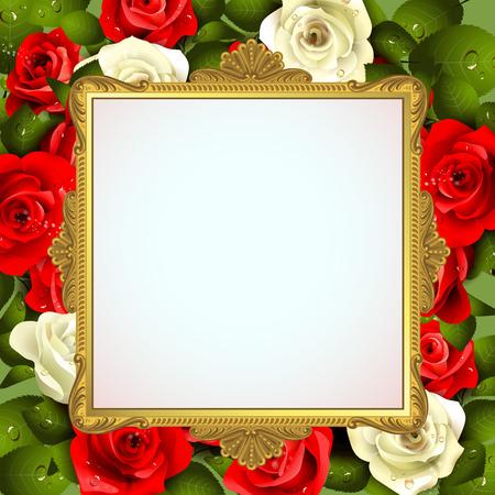 Goldener Rahmen mit Rosen auf weißem Hintergrund