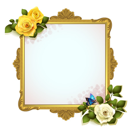 wood frame: Golden frame with roses on white background