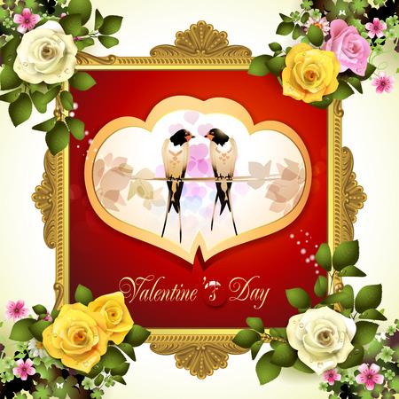 tragos: marco del día de San Valentín con dos tragos Vectores