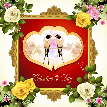 swallows: Valentines day frame with two swallows