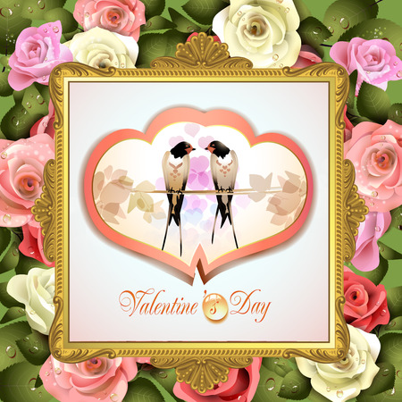 garden styles: Valentines day frame with two swallows