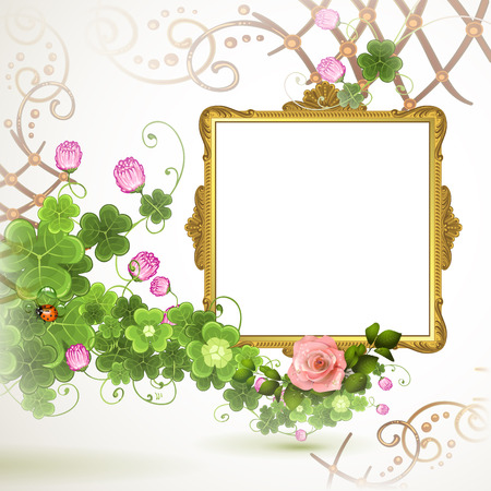 Golden frame with roses on white background