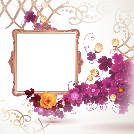 luxury furniture: Golden frame with roses on white background