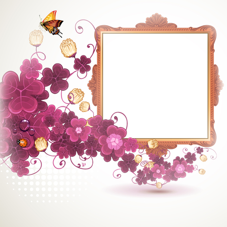Golden frame with flowers on white background
