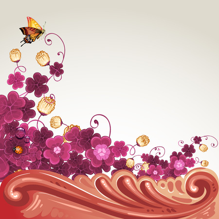 Background with baroque decoration, flowers and butterfly