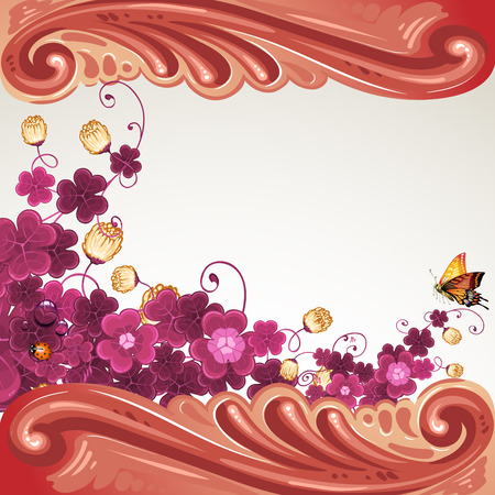 Baroque frame with flowers and butterfly