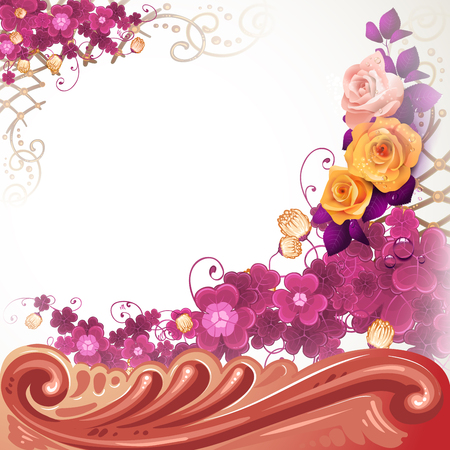 Background with baroque decoration, flowers and roses