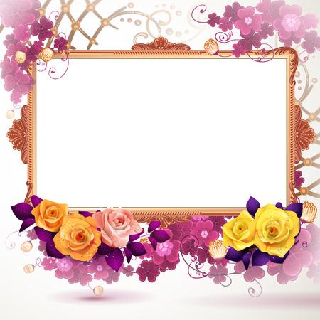 Golden frame with flowers Illustration