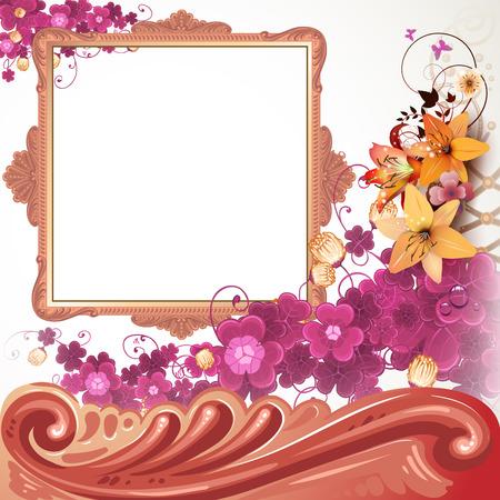 old square: Golden frame with flowers Illustration