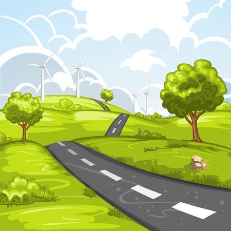 Paesaggio della sorgente con la strada