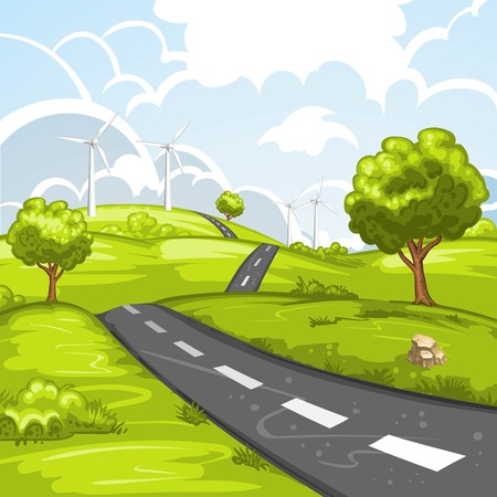country road: Spring landscape with road Illustration