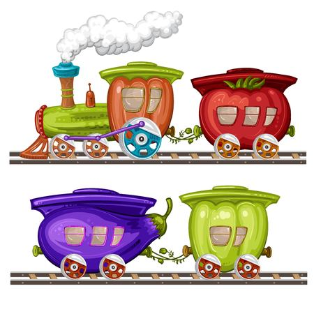 vehicle track: Vegetables trains, wagons and rails