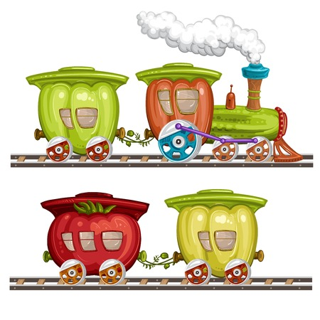 Vegetables trains, wagons and rails