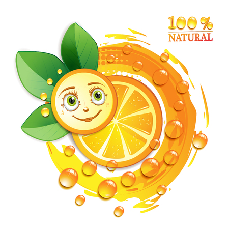 gastronomic: Orange slices with leafs and a smiley face