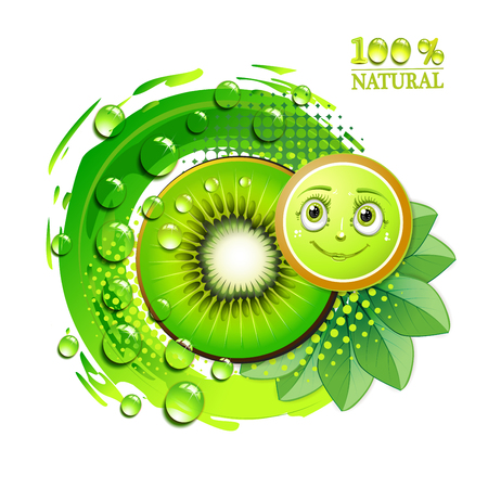 seed: Kiwi slices with leafs and a smiley face