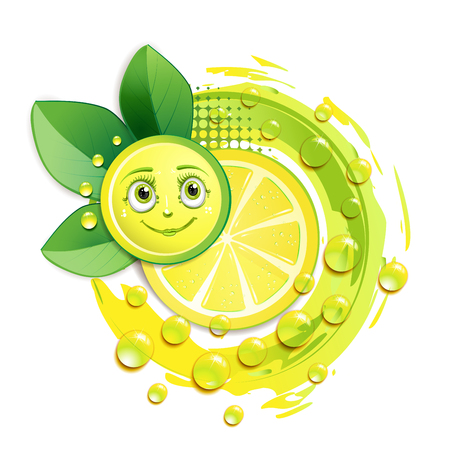 fleshy: Slice of yellow lemon with leafs and a smiley face