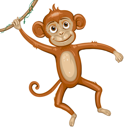 thumping: Cartoon monkey hanging in tree