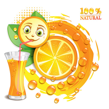 Orange slices with a smiley face Illustration
