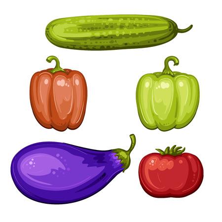 cucumber: Vegetables,tomato, eggplant, pepper, cucumber Illustration