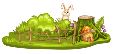 Green glade with house for gnome made from mushroom Illustration