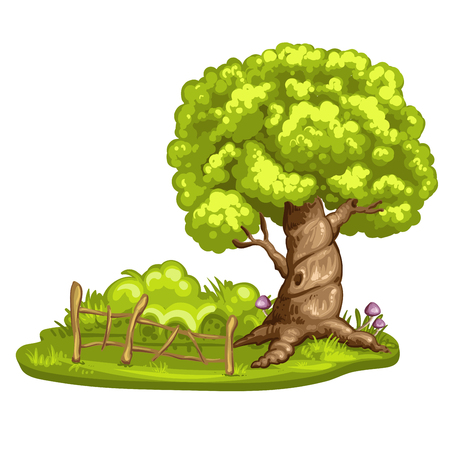 farm land: Green glade with tree on white background